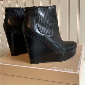 Michael Kors Black Leather Emory Wedge Booties